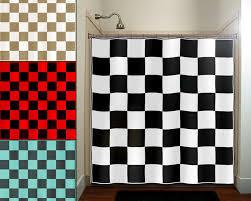 checkered car racing flag chess board shower curtain bathroom