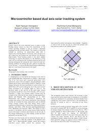 PDF Microcontroller Based Dual Axis Solar Tracking System
