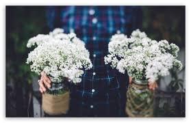 Download Vintage Wedding Flowers In Jars HD Wallpaper