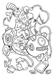 In The Hat And Mahine Coloring Pages For Kids Printable Free Within Dr Seuss