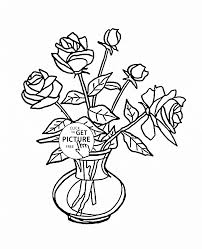 Coloring Pages Of Flowers In A Vase 20 Bouquet Roses Page For Kids Flower