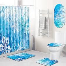 großhandel gewebe duschvorhang badezimmer teppich 4 stück badezimmer teppich sets duschmatte pvc blue snow badmatte anti slip wc teppiche set