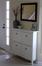 HEMNES shoe cabinet from IKEA with mirror over it instead of a