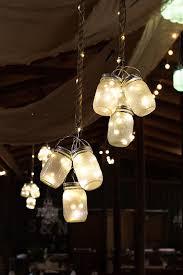 Hung Mason Jar Lights For Country Rustic Barn Wedding Ideas