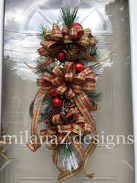 Pine Cone Christmas Tree Centerpiece by Christmas Wreath French Country Swag Pine Door Wreath
