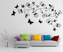 Modern Abstract Dark Tree Butterfly Wall Stickers Decals Art For Small Paintings
