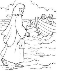 One Of Miracles Jesus Is Walking On Water Coloring Page