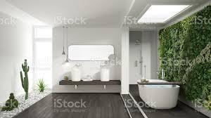 minimalistisches weißes badezimmer mit vertikalem und saftigem garten holzboden und kieselsteinen hotel spa moderne einrichtung stockfoto und mehr