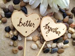 Wood Heart Cake Toppers Personalized Better Together Photo Props For Rustic Chic Wedding Anniversary Engagement Party