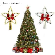Silver Gold Christmas Star Xmas Tree Toppers Five Pointed Topper With Bowknot Party Ornaments Decoration 30 Glass