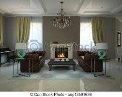 wohnzimmer im modernen landhaus 3d canstock