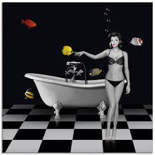 artland glasbild ein badezimmer für fische frau 1 stück kaufen otto