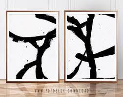 Set Of 2 Abstract Art Wall Prints Black White Minimalist Modern