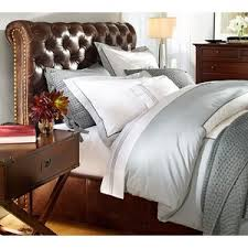 pottery barn chesterfield leather bed headboard polyvore