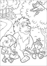 Dora The Exlorer Boots Swiper And Lion Coloring Page