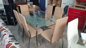 NEW ELEGANT GLASS CHROME DINING TABLE WITH BEIGE PADDED CHAIRS 595EUR