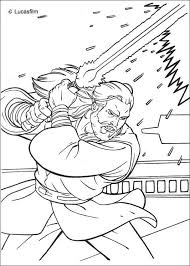 Jedi Knight Qui Gon Jinn With A Laser Sword Coloring Page