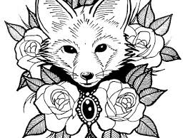 Cute Fox With Roses Animals Coloring Pages For Adults