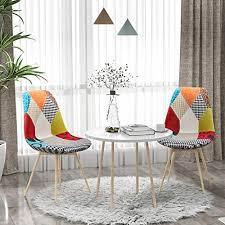 vadim stuhl esszimmerstuhl patchwork wohnzimmerstühle mehrfarbige stühle mit rückenlehne leinen stoff metallbeine 2 stück bunt skandinavische bunt
