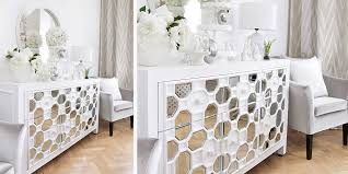 sideboard in purem weiß mit spiegelelementen instashop