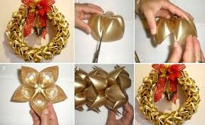 DIY Christmas Wreath Using Plastic Bottles