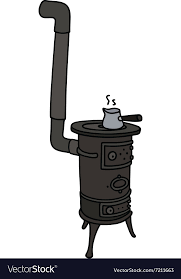 Hand Drawing Of An Old Small Stove Vector Image