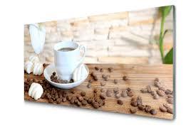 tasse kaffee kaffeebohnen küche druck auf glas tulup de