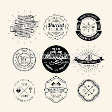 Vintage Retro Wedding Logo Frame Badge Design Element Vector Art