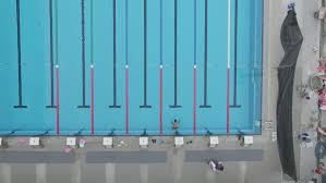 Olympic Swimming Pool Top View Aerial D Log Style Stock