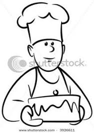 Clip Art Image Baker with Cake In Black and White