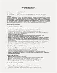 Restaurant Manager Job Description Resume New 9 Hostess Example