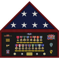 Pre Assembled Flag And Memorabilia Shadow Box Display Case With Professionally Mounted On Site At USA Military Medals