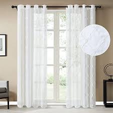 topfinel voile gardinen mit ösen kariert vorhänge dekoschal mit stickerei für wohnzimmer schlafzimmer 2er set je 250x200cm hxb weiß