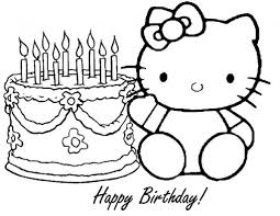 Hello Kitty Coloring Pages Birthday Children With Regard To Happy