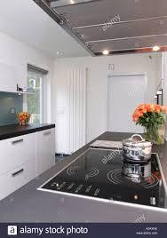 moderne weiße küche mit induktionsherd und design heizkörper