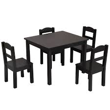 Bonnlo Kids Table And 4 Chairs Set 5-Piece Wood Toddler Table And Chair Set  (Espresso)