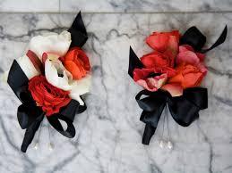 Red Anemone White Ranunculus Black Ribbon Wedding Corsage Provo Utah Flowers Calie Rose