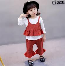 Baby Girls Fashion Outfits Kids White Shirt Suspender Ruffle Vest Flare Trousers Sets Autumn New Children Cute Clothing C0706