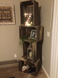 Rustic Crate Shelf Unit With Basketball Tennis Shoes Nail Polish Tiger