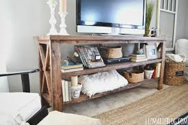 DIY Rustic X Base Console Table