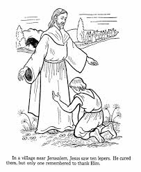 Jesus Heals The 10 Lepers Bible Coloring PagesColoring