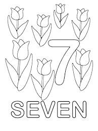Learn Number 7 With Seven Tulips Coloring Page
