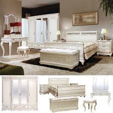 schlafzimmer set oskar massivholz weiß mit dunkler patina