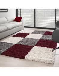 hochflor langflor wohnzimmer shaggy teppich kariert rot weiss grau