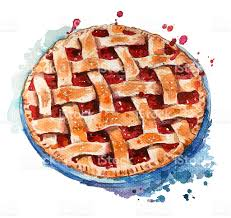 Hand painted home made berry pie Watercolor sketch royalty free hand painted home