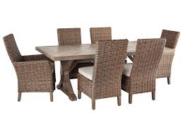 Beachcroft 7 Piece Outdoor Dining Set By Signature Design By Ashley At  Becker Furniture World Outdoor Wicker Chairs Table Cosco Malmo 4piece Brown Resin Patio Cversation Set With Blue Cushions Panama Pecan Alinum And 4 Pc Cushion Lounge Ding 59 X 33 In Slat Top Suncrown Fniture Glass 3piece Allweather Thick Durable Washable Covers Porch 3pc Chair End Details About Easy Care Two Natural Sorrento 5 Cast Woven Swivel Bar 48 Round Jeco Inc W00501rg Beachcroft 7 Piece By Signature Design Ashley At Becker World Love Seat And Coffee Belham Living Montauk Rocking