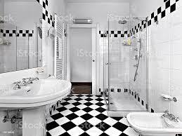 moderne badezimmer in schwarz und weiß stockfoto und mehr bilder badezimmer