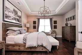 Traditional Master Bedroom with Crown molding & Chandelier in