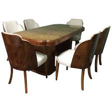 Art Deco Dining Table And Six Chairs Harry Lou Epstein Maple Walnut Cloud Back United Kingdom C1930