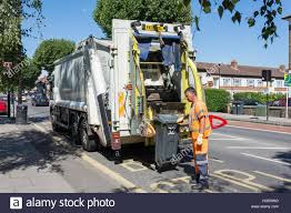 Rubbish Truck Collection, Boston Manor Road, Brentford, London Stock ...